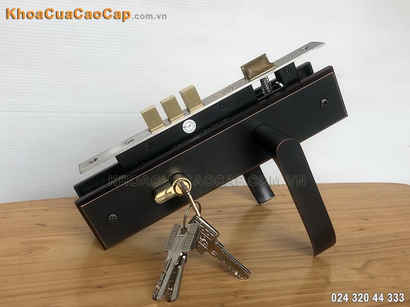 Khóa cửa gỗ Huy Hoàng EX-8510 màu đen